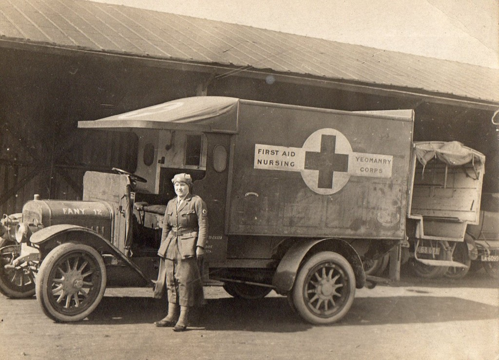 Evelyn Faulder MM by an Ambulance