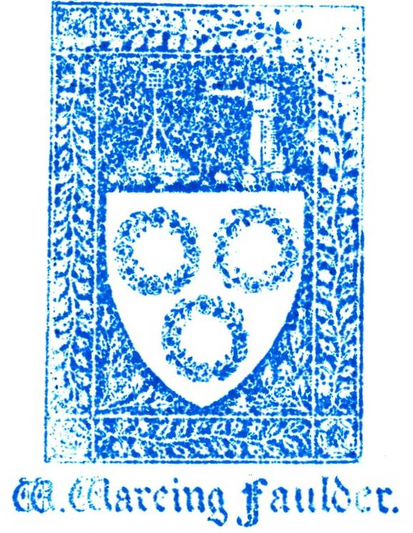 Book plate used by William Wareing Faulder