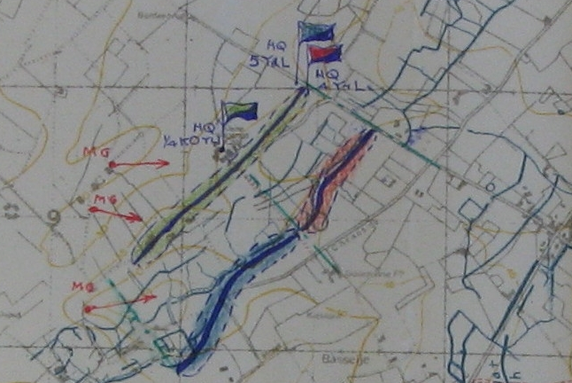 Extract from Map in 148th Brigade War Diary - 25th April 1918