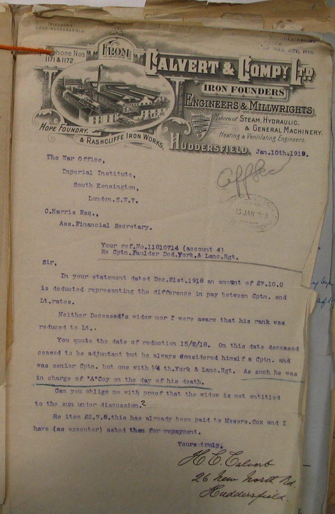 Letter HC Calvert to War Office
