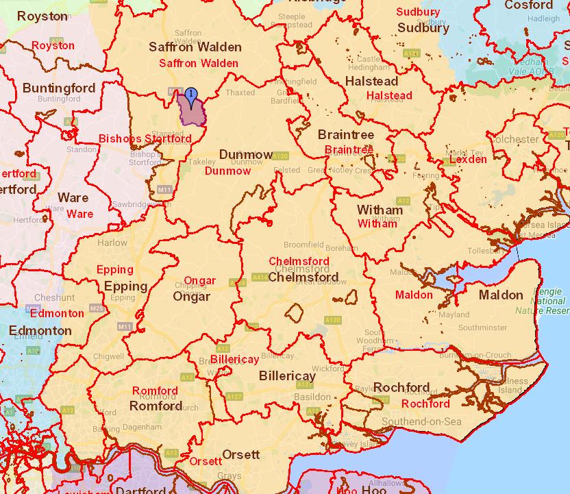 Essex showing Henham Parish